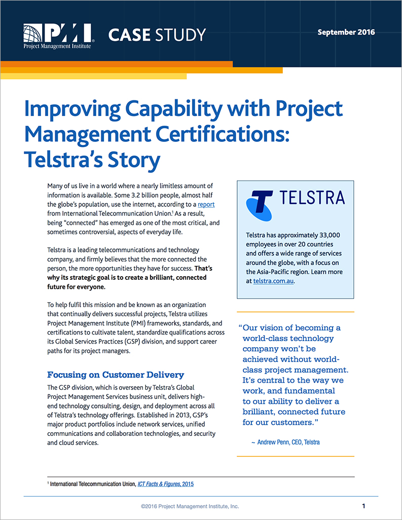 Improving Project Management Telstras Story Pmi