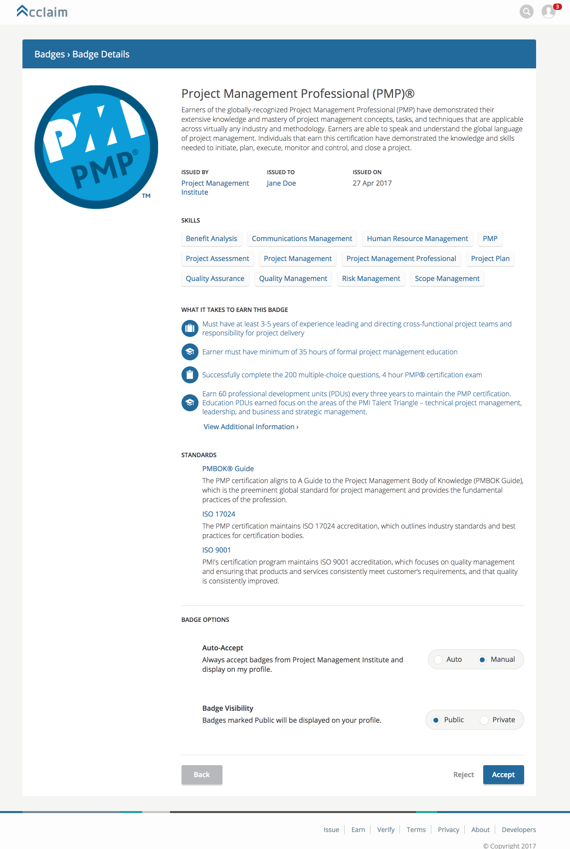How to get your digital badge pmi pmi acceptance pages xflitez Image collections
