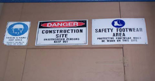 Construction Site Signs in Australia are examples of C-TANO to avoid injuries