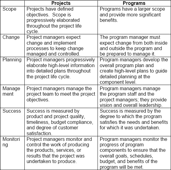 Comparative overview of project and program management