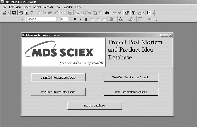 Menu to the Microsoft Access Project Post-Mortem Database