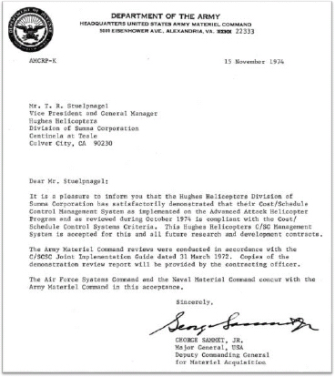 Letter from Major General George Sammet notifying Hughes Helicopters they had successfully demonstrated their management system to the Army, Navy and Air Force