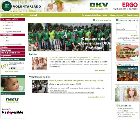 Employee Volunteer page at DKV Spain's intranet