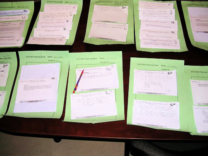 Authorized work packages are laid out on planning sheets to help better visualize the work being planned