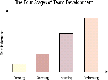 A team must work through each stage of development to reach its desired productivity and effectiveness