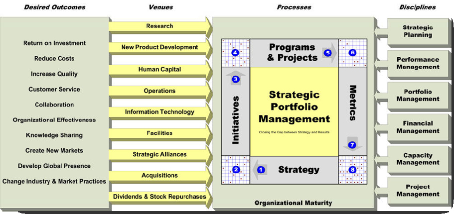 Strategic Portfolio Management Model: Outcomes, Venues, Processes and Disciplines