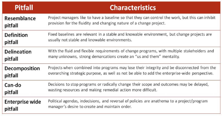 Pitfalls associated with taking a project-based view of initiatives requiring substantial organizational change