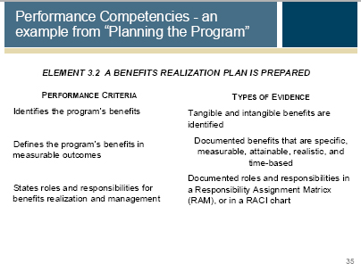 Performance Competency describing the best practice of Benefits Realization
