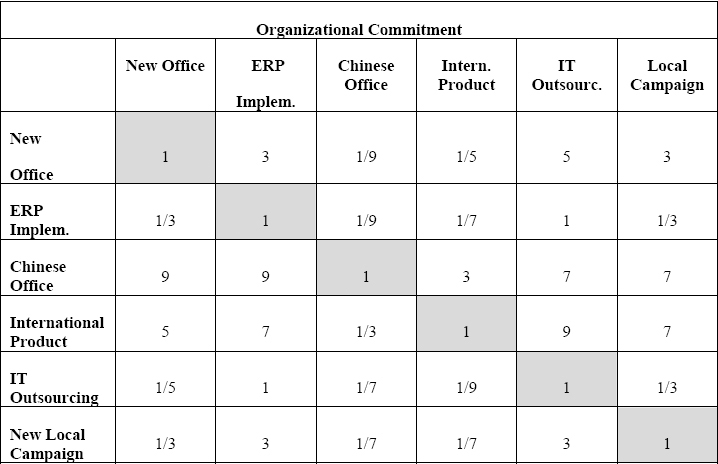 Projects Comparison Matrix for the Organization Commitment Criterion