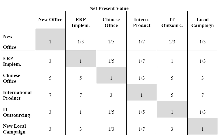 Projects Comparison Matrix for the Net Present Value Criterion