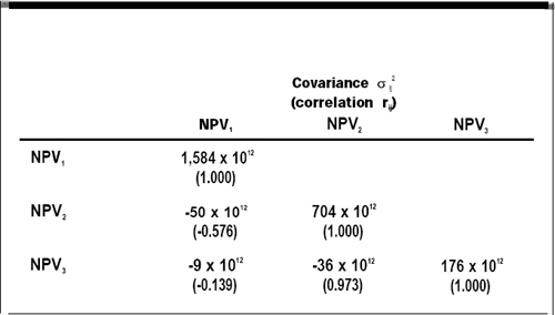 Npv Covariance Correlation Matrix For The Three Proposed Projects