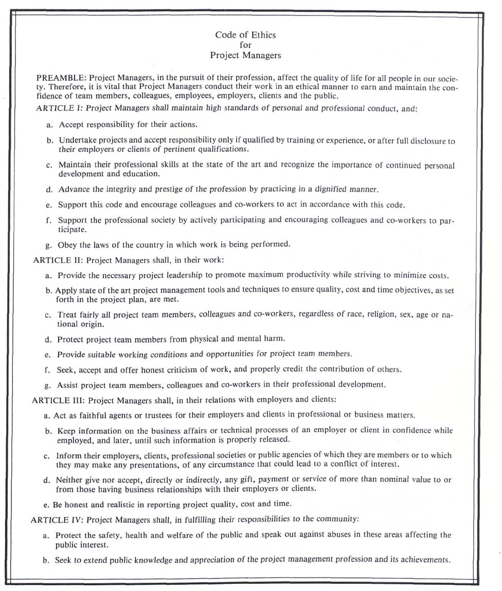 Establishing and improving a code of ethics for project managers ethics obligation matrix xflitez Choice Image