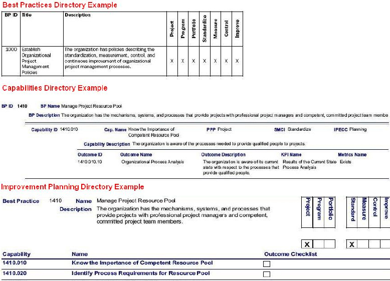 OPM3 Directories Examples (PMI, 2003, pp. 33 and 34)