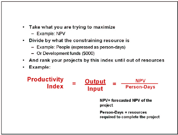 The Productivity Index – an index used to rank development projects