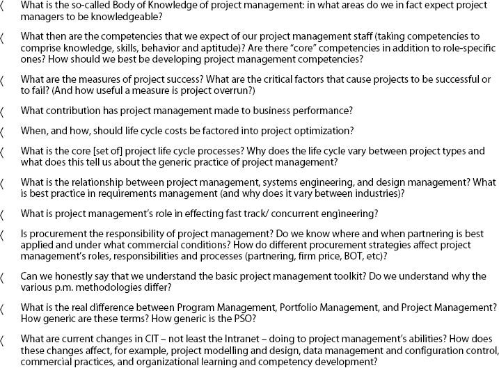 Current Examples of Research Issues in Project Management