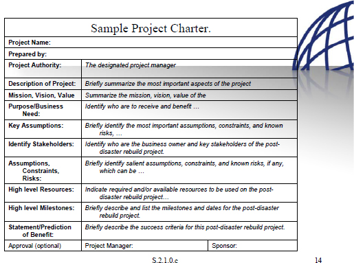 Project management methodology for post disaster reconstruction