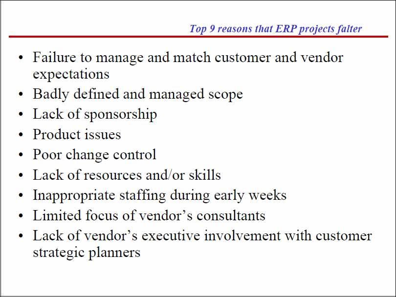 Why the ERP projects falter