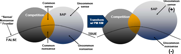 "Knowledge Strategy Equation that drives the ""sense:nonsense"" ratio is elaborated on the left-hand side with two relatively equal competitors. Business transformation via PM KM increases the SAP sense:nonsense ratio. (Goddard, 2006, 5)"