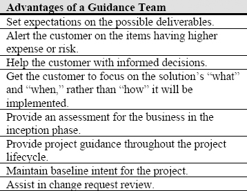 Advantages of a guidance team