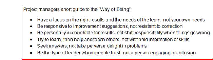 "Project Managers ""Way of Being"" Guide (Adapted from Arbinger, 2002)"