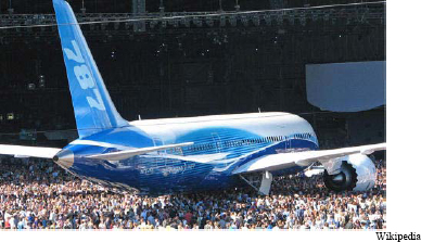 Rollout of the Boeing 787 in Everett Washington on July 8, 2007. First flight scheduled expected in 4th quarter