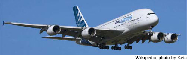 Airbus A380. The first flight of the A380 was on April 27, 2005