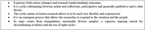 Characteristics of action research (Sankaran et al., 2012)